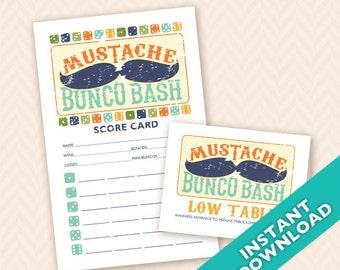Mustache Bunco Bash  Printable Bunco Scorecard and Table Marker Set (a.k.a. Bunko, score card, score sheet)