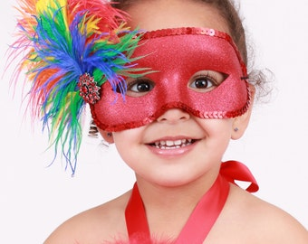 READY TO SHIP: Paradise Parrot - Scarlett Macaw Feather Bird Mask - Red & Rainbow - Halloween Costume Accessory - Fits toddler to adult
