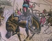Texas Cowboy Scarf Vintage Pink Blue Black Abilene Wild West Tourist Souvenir Ranch Horse Pony Cows 50s  Rodeo What the Funk on Etsy