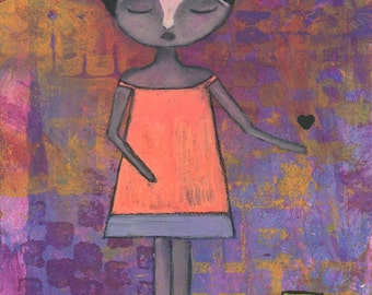 "Giclee Print - 5"" x 7"" Brave Girl, Neon Inspirational Mixed Media Decor, Pink Orange Purple Wall Art, Whimsical Word Art - ""Here"""
