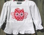 Valentine's Owl Ruffle Shirt and Matching Ruffle Pants sizes 6/12 months - 8Y