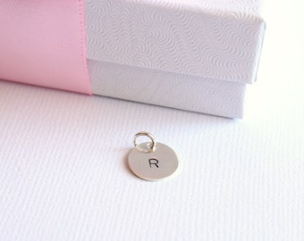 """Sterling Silver Add On, Petite 3/8"""" Hand Stamped/ Engraved Initial Charm for Jewelry, Bracelet, Necklace Add a Charm"""