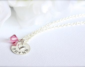 Sterling Silver Kindergarten Gift Kid's Jewelry Gift Stamped Engraved Name Necklace, Heart Birthstone - FREE Gift Packaging