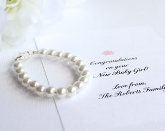 BABY GIRL Pearl Bracelet, New Baby Gift, Keepsake, 1st Pearls, Birthday, Baby Shower Gift, Photo Prop Pearls  -- FREE Gift Packaging
