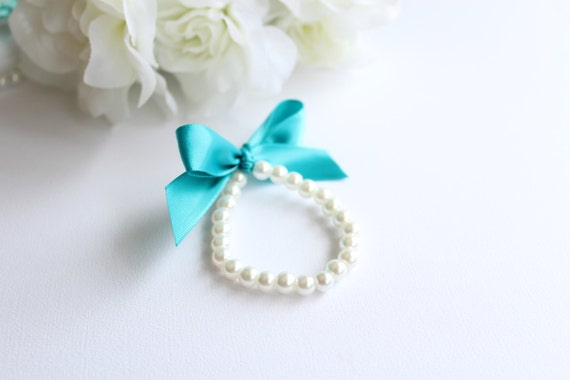 Little Girl Pearls and Ribbon Bracelet, Teal, Oasis, Turquoise, Flower Girl Gift, Birthday, Baby Girl, First Pearls -- FREE Gift Packaging