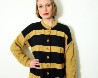 Vintage Handmade Chunky Textured Knit Cardigan Sweater