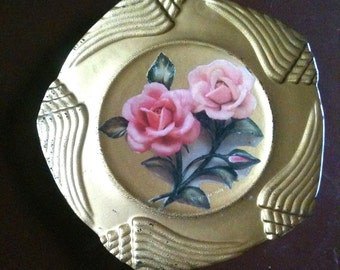 Vintage Tempered Glass Plate Tray Gold Leaf Reversed Painted Gold Pink Rose Decoupage Decorative Depression Cottage
