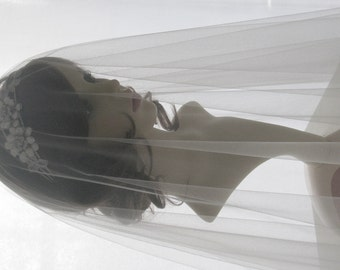 Drop veil - Italian tulle bridal veil - Pure