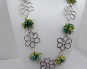Metal Daisies with Teal and Lime Seed Bead Daisies Necklace