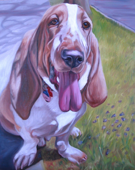 PET PORTRAIT, Dog Portrait, Basset Hound, Custom Painting, Oil Painting Best Gift - 8x10