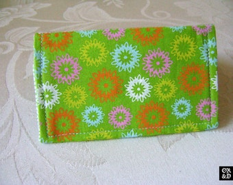 Lime Green Floral Multi Business Card Holder / Gift Card Holder / Mini Wallet Case
