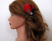 Feather Fascinator Black and Red with Rhinestone and Tulle, Wedding Fascinator,  Bridesmaids Feather Fascinator