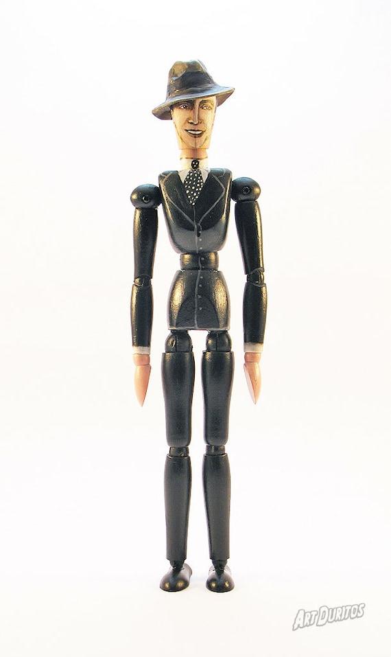 Carlos Gardel Art Doll - Sculpture - Articulated Wooden Figure - Original Pop Art