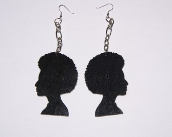 Afro Ladies Wood Dangle Earrings