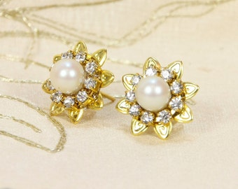 Bridal Earrings - Pearls and Rhinestone,Gold,Ivory Pearls,Real Genuine Pearls Earrings,Vintage Victorian Wedding Jewelry,Crystal Earrings