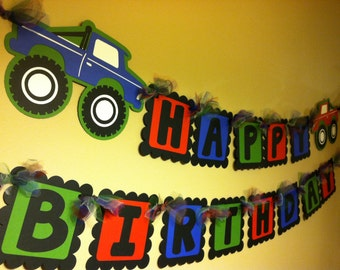 Monster Truck Happy Birthday Banner