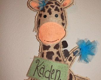 Giraffe burlap door hanger - giraffe hospital sign - shower