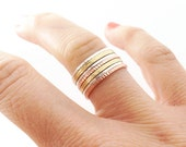 Stacking Rings - Mixed Metals - 7 bands- Everyday Ring Set - Sterling Silver, Copper Rose-Gold Look,Gold Brass -Layer- Gift For Her Under 75