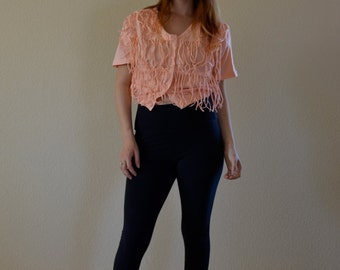 1980s SMALL peach cropped loose fringe ladies top