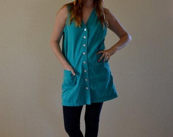 1980s SML/MED teal button down shift jumper mini dress