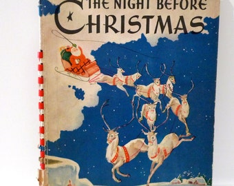 Night Before Christmas 1940s Pop Up Children's Book Vintage Antique Meg Wohlberg Moving Santa Claus 12 Reindeer Crown Lithograph Moveable
