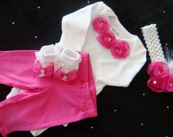 NEWBORN baby girl take home outfit, complete clothing set with hot pink satin rosette onesie®, matching pants, headband and socks