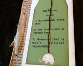 Guest Book, Baby Shower wish tags, Vintage Bookpage, Winnie the Pooh, Wishes for the Parents, Green Gender Neutral