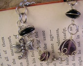 Black & Purple bracelet. Silver Wire-wrapped with dragonfly charm. vintage style jewelry. Jet and amethyst beads