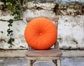 "Orange - tangerine Cotton round pillow 16"""