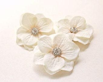 Ivory Flower Hair Clips (3pcs) Wedding Hair Accessories, Small Flower Hair Clips, Bridal Headpiece, Hydrangea, Crystal Rhinestones, Blush