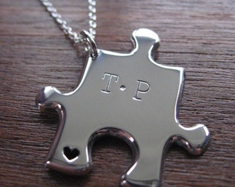 Puzzle Pendant Necklace with two Stamped Initials