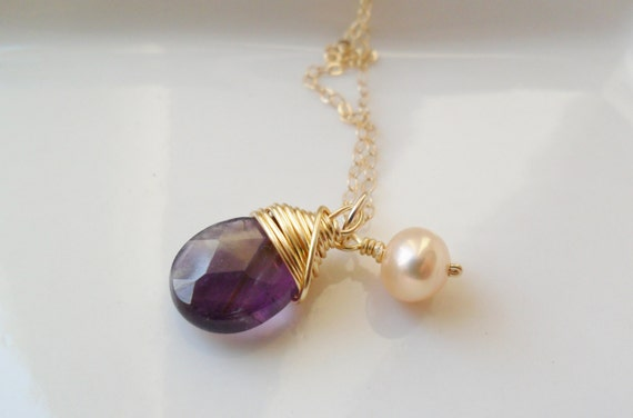 Purple faceted amethyst teardrop gemstone and champagne pearl 14ct gold filled charm necklace