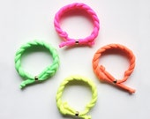 SALE - set of 4 - the braid bracelet - handmade with a neon fabric and a gold stainless steel bead