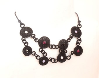 From Europe's heart-little circle, made black HORSE HAIR necklace