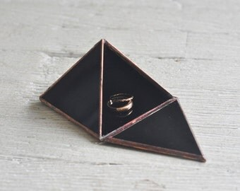 Pyramid Display Box - black glass pyramid - jewelry box - hinged - silver or copper - eco friendly