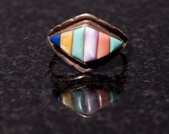 Sterling Silver Multi Stone Inlay Ring Size 7 Signed RR