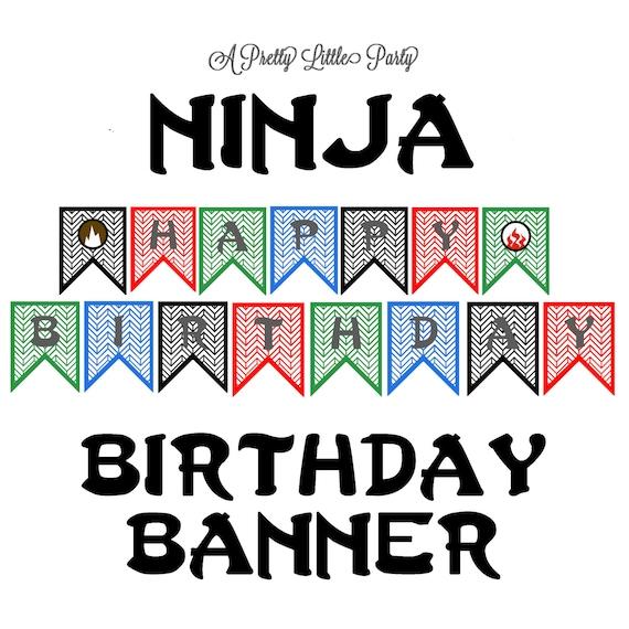 Ninja Birthday Banner - Ninja party - Ninja - Party Supplies -INSTANT DOWNLOAD