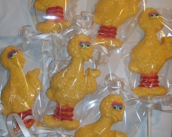 12 Sesame Street Big Bird Chocolate Lollipops Party Favors