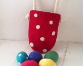 Merino Easter Basket & 5 Eggs  - Bright Colours Polka dots Rainbow Wool Handmade Waldorf Party Favours Spring