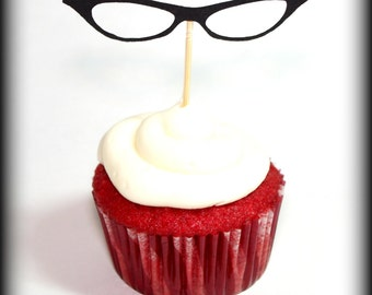 12 Cat Eye Glasses Cupcake Toppers-Little Man Party-Mustache Party-Glasses on a stick-Mustache on a stick-cupcake topper-Bachelorette party