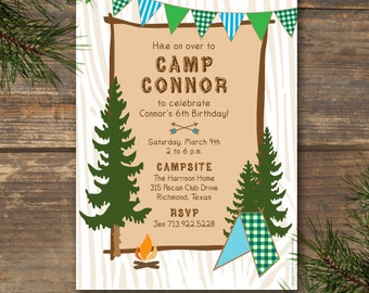 Camp Theme Invitation Printable - Blue & Green