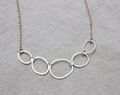 Line necklace, Organic hoop shapes,  Light simple necklace, modern geometric jewelry