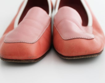 Loafers - Pink Leather Vintage 80s Color Block Enzo Angiolini White Flats