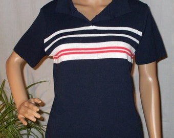 Pullover Summer Sweater Navy Blue Striped Red and White Short Sleeve Vintage 1960s Womens Clothing  WomensBobbie Brooks - size M