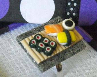 Sushi Platter Ring - Handmade - Polymer Clay - Silver Ring
