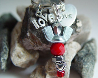 "Blood Red & Mirror Beaded Silver Wingnut ""Love"" Angel Charm Keychain"