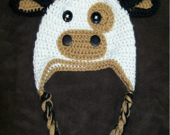 Crochet Cream Brown and Black Cow Earflap Hat