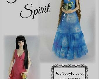 Versatile Flowing Dress PDF Pattern for BJD eid or sd ...Free Spirit