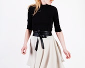Mod Beige Short Mini Circle Skirt with High Waist