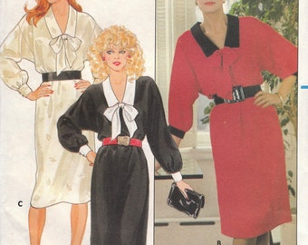 80s Office Dress Pattern Butterick 6003 Sizes 14 16 18 Uncut
